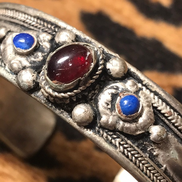 Vintage Jewelry - Silver blue and red stone Boho Cuff bracelet